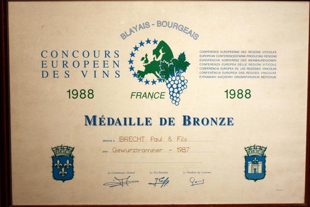 vins-alsace henri-brecht -Histoire et palmarès - 1988