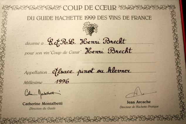vins-alsace henri-brecht -Histoire et palmarès - 1999